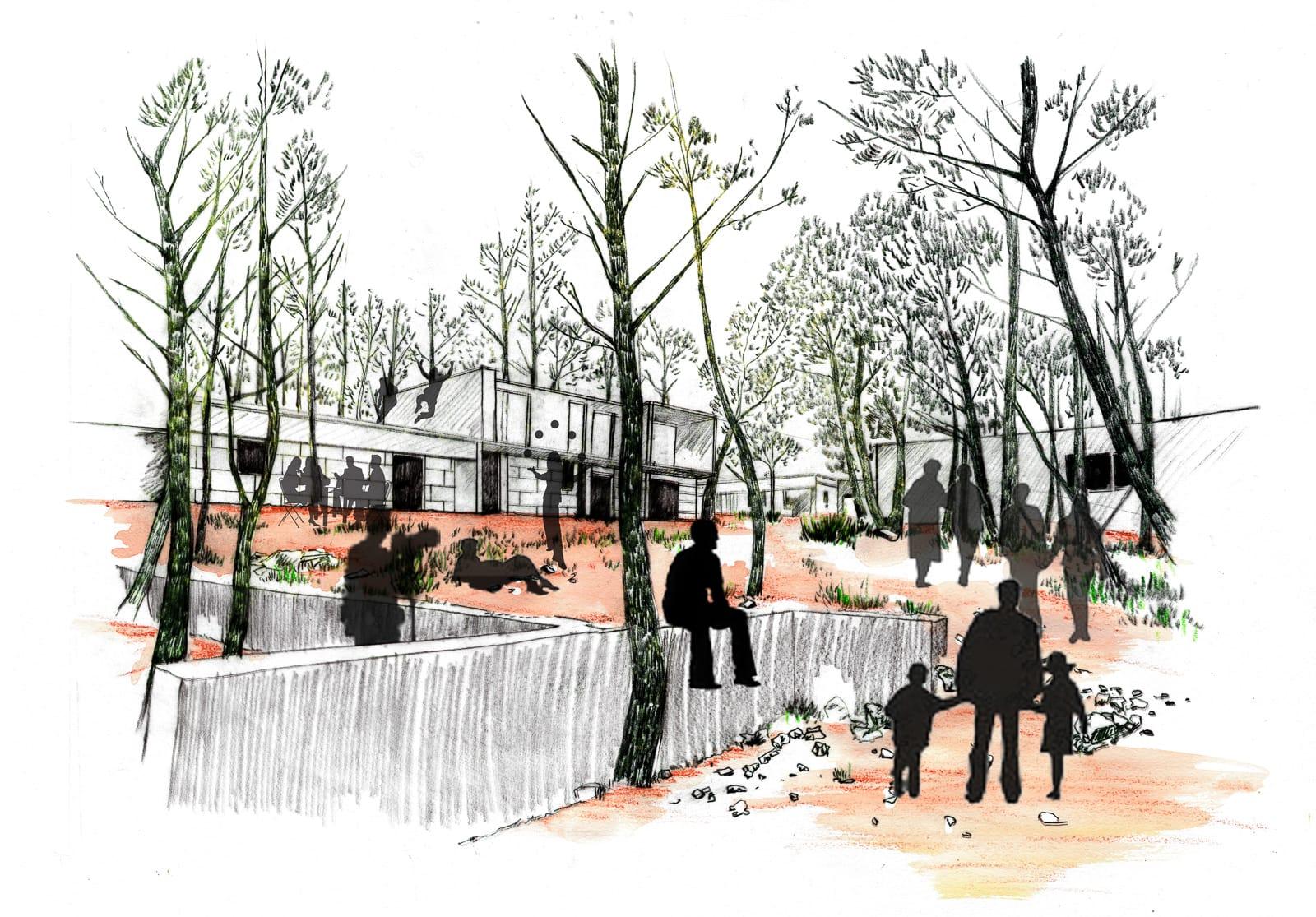 Dessin forêt habitée Frange ville nature Marseille Vallon de la mûr®Hermeline Carpentier