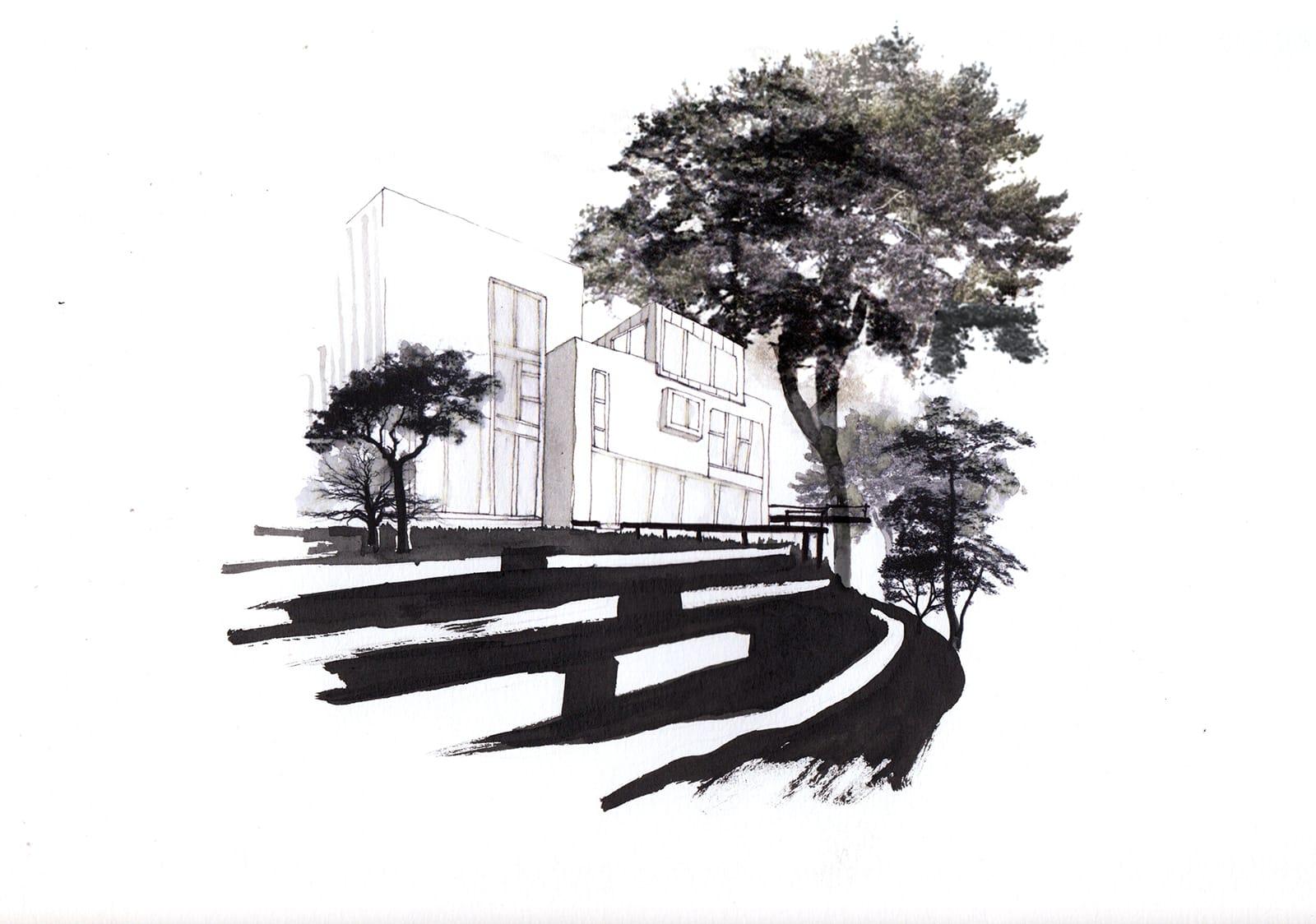 dessin Esquisse Jardin pente perché pillotis terrasse muret soutainement®hermelinecarpentier