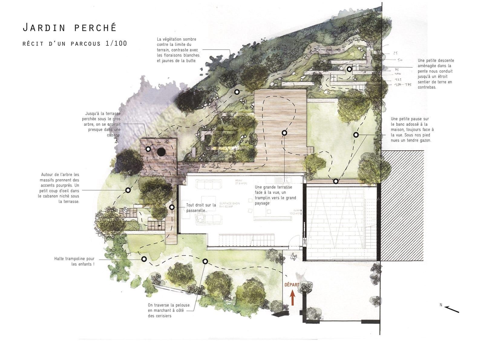 Plan Esquisse Jardin pente perché pillotis terrasse muret soutainement ®hermelinecarpentier