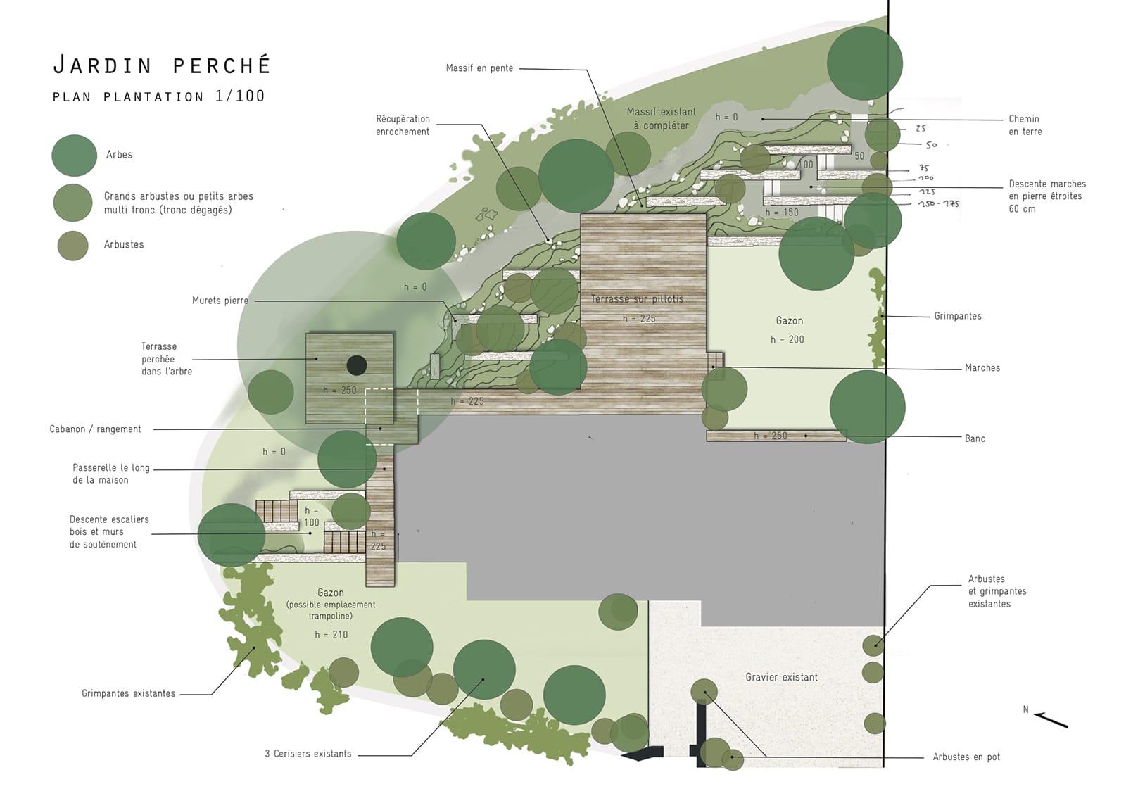 Plan Esquisse Jardin pente perché pillotis terrasse muret soutainement ®hermeline carpentier
